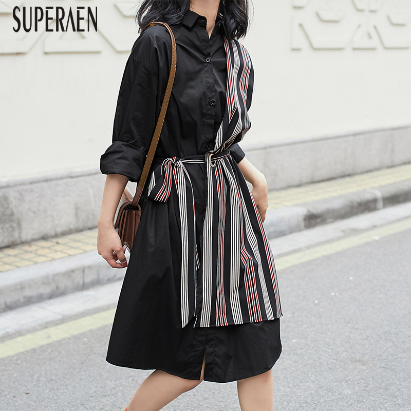 SuperAen Fashion Women Dress Pluz Size Temperament Fashion Dress Stitching Fake Two Pieces Dress Female Spring