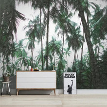 Custom wallpaper hand drawn Nordic tropical plants coconut tree TV background wall painting
