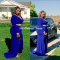 Azul Royal Sexy africano Plus Size vestidos de baile para preto meninas v-neck mangas compridas Side dividir vestido de festa longo vestidos de noite
