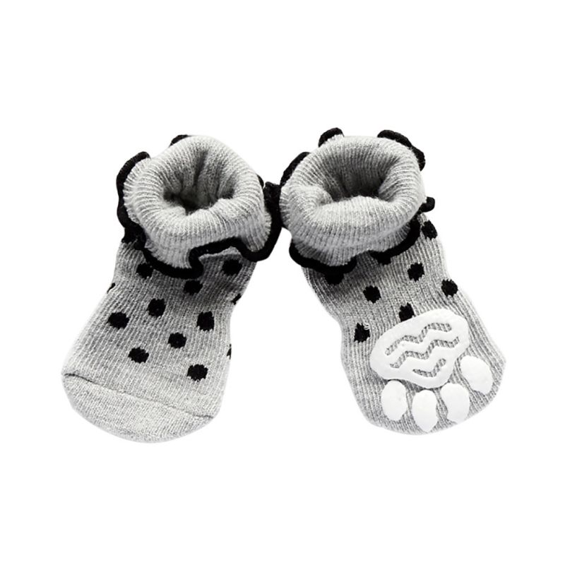 შემოდგომის ზამთრის ლეკვი პატარა ძაღლის წინდები ბამბის საოჯახო ფეხსაცმელი ქვედა არამცდური თბილი წინდები 4 ცალი ძაღლი ძაღლი Skid ფეხსაცმელი ცხელი იყიდება