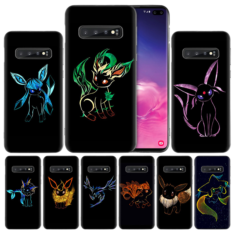 Cute pokemons Black Silicone Case Cover for Samsung Galaxy S10 S10e 5G S9 S8 S7 Edge J8 J6 J4 Plus 2018 Note 8 9 Fundas Coque image