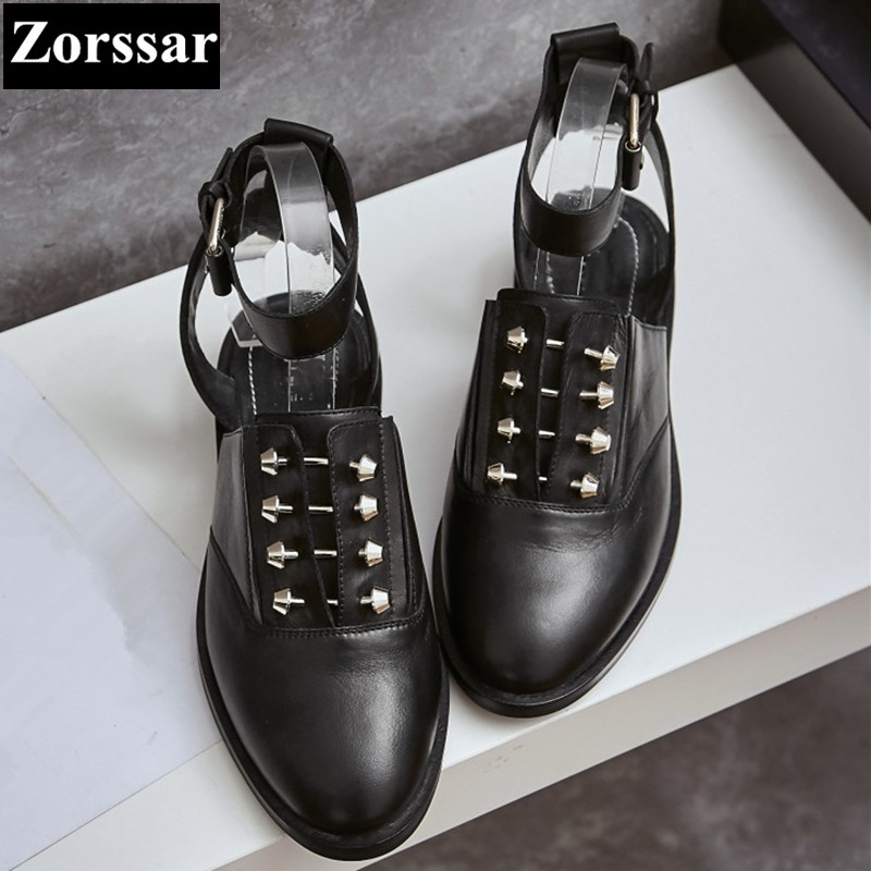 {Zorssar}Brand Fashion rivets punk Genuine leather Summer Womens shoes lady pointed toe flat Roman gladiator sandals women flats new 2017 spring summer women shoes pointed toe high quality brand fashion womens flats ladies plus size 41 sweet flock t179