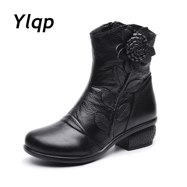 2018 Autumn Winter Retro Boots Handmade Ankle Boots Real Genuine Leather Shoes Botines Mujer Women Shoes Ladies Leather Boots