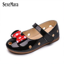 купить 2019 Summer New Girls Sandals Princess Shoes Korean Children's Closed Toe Shoes Kids Girl Lovely Dot Bow Mary Jane Shoes C03123 дешево
