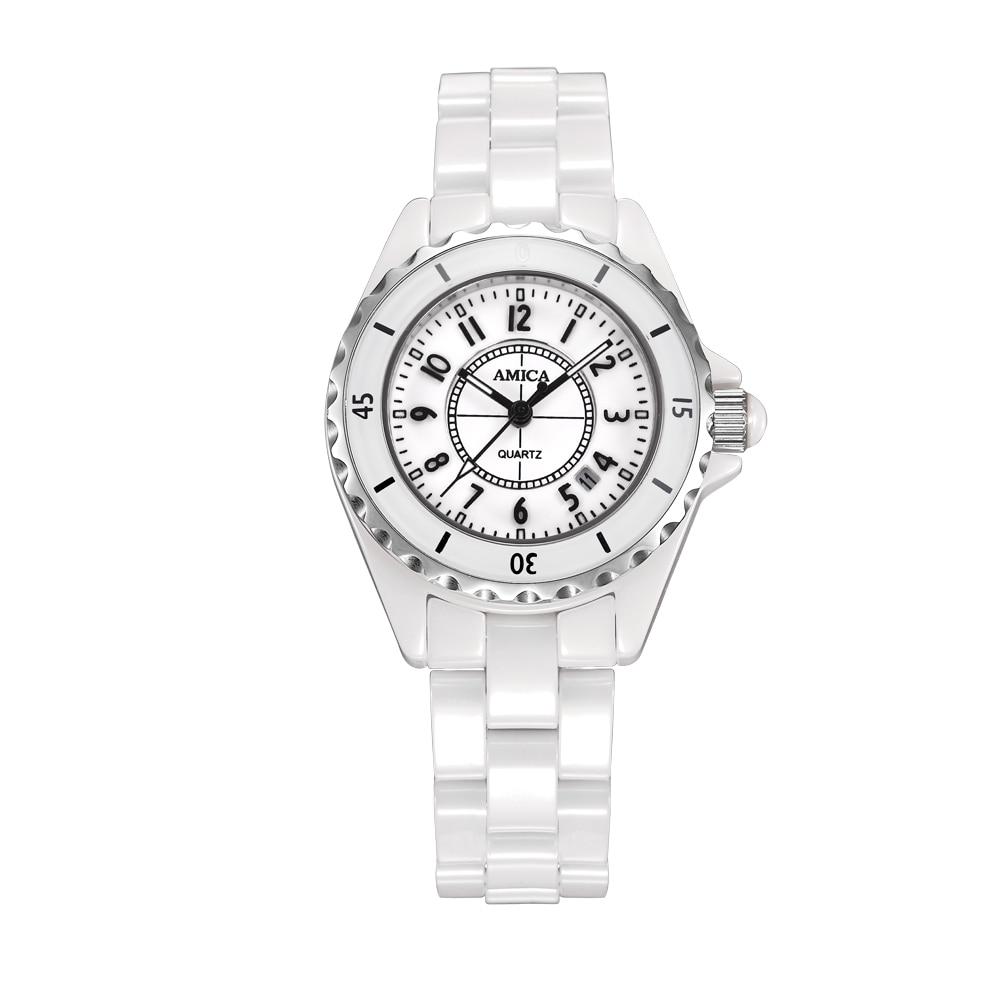 купить Amica Women's D-Ceramics Quartz Sapphire Silver Tone Stainless Steel Surface Crystal Ceramic Watchband Wrist Watches A5-13 дешево