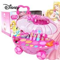 Disney Children's Makeup Toys Girl Pretend Play Princess Makeup Car Set Birthday Gift Lipstick Nail Polish Makeup Toys For Girls