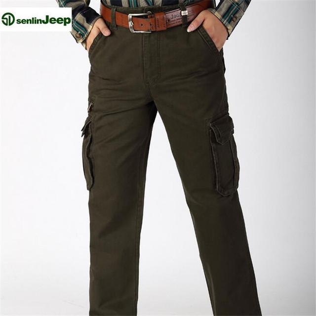 SenLin AFS JEEP Precio Al Por Mayor del Hombre de la Marca de Carga Pantalón, Loose Straight Muchos Bolsillos Algodón General de Viaje de tamaño grande pantalones 40/44