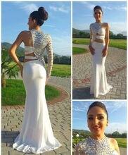 Klassische One Long Sleeve Abendkleid 2016 Sexy Weißen Kristall High Neck Abendkleid vestidos de gala Schnelle Lieferung