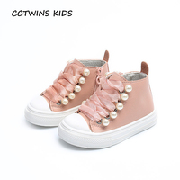 CCTWINS KIDS 2017 Toddler Casual Black High Top Pearl Shoe Baby Girl Fashion Pu Leather Brand