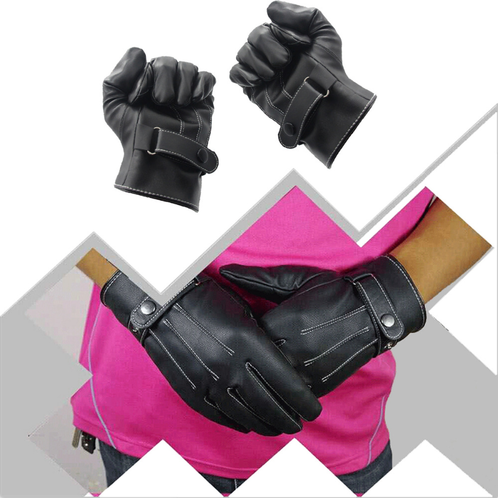 Mens leather gloves black friday - Black Mens Pu Leather Winter Driving Super Warm Gloves Cashmere Mittens Goves China Mainland