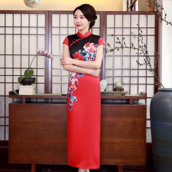 Sexy Red Women Qipao Chinese Bride Wedding Dress Long Lady Dresses Plus Size 3XL 4XL Vestidso Print Flower Vintage Cheongsam