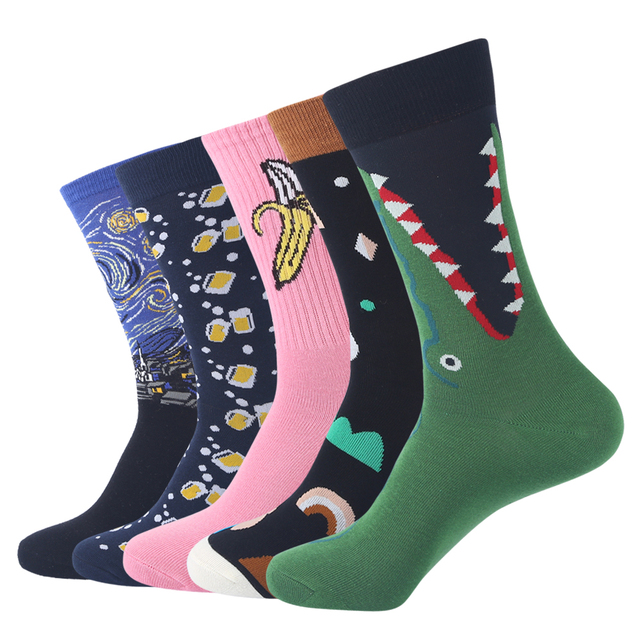 e1193100074a Fashion Brand Hip hop Cool Cotton Men's Funny Socks Fruit Animal Stripes  Patterned Long Skate Socks gift for Men 5 Pairs/set