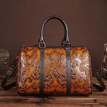 2017 Mujeres Del Cuero Genuino Bolsos de Diseño de Moda Elegante Bolsas de Hombro Femenino Estampado Floral Bolsa de Asas Casual bolsos sac a principal