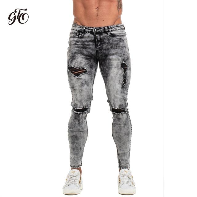 c9db4d6f027d Gingtto Pants Men Skinny Jeans Men Grey Distressed Denim Ripped Stretchy  Jeans Fashion Brand Stonewashed Big