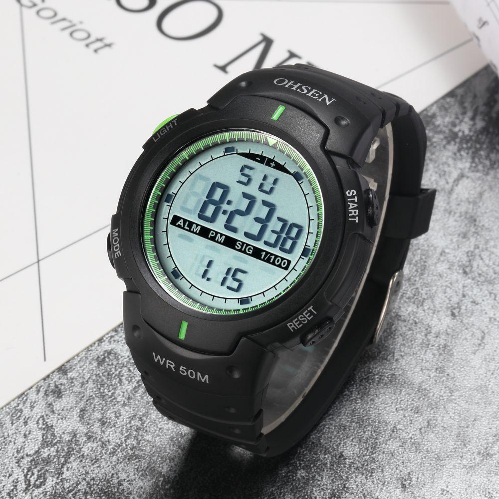 OHSEN Male Wristwatch Quartz Digital Mens Watches Hot Brand Famous Fashion 50m Diving Watch Male Montre Homme LCD Sport Relojoes ohsen 2821 sport quartz watch blue