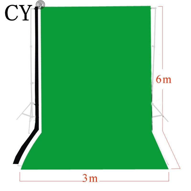 CY Photo Studio 3 m x 6 m solide noir blanc vert écran mousseline toile de fond ensemble photographie arrière-plans Kits
