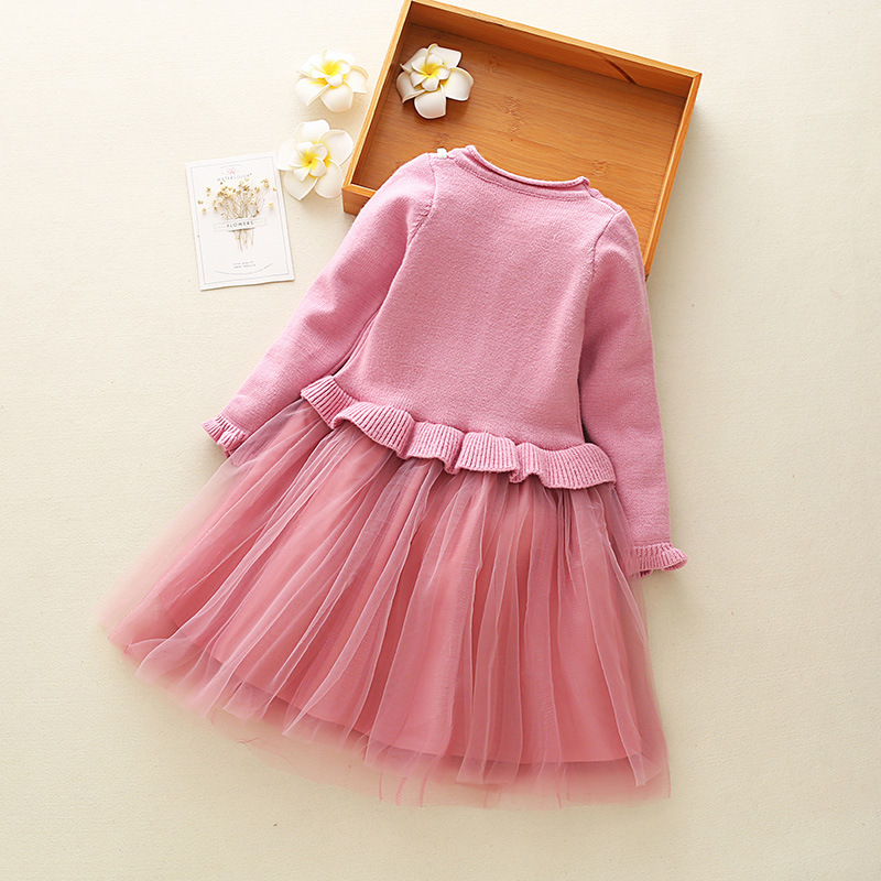 1bc49574d7b1 Little Girls Cute Dress Long Sleeve Autumn Winter Dress Size 3 4 5 6 ...