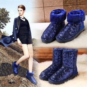 Image 5 - Jianbudan革牛革暖かい女性の雪のブーツの女性スパンコール冬の綿のブーツ本革豪華な雪のブーツ35 40