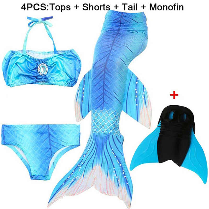4 teile/satz Swimmable Kinder Meerjungfrau Schwänze Zeemeerminstaart Erfüllt Monofin Fin Kinder Badeanzug Meerjungfrau Schwanz Kostüm für Mädchen Schwimmen