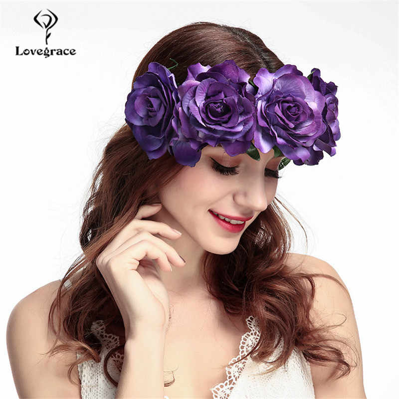 Свадебный головной убор Свадебные цветы Венок повязка на голову гирлянда из роз украшения для волос подружки невесты Свадебная повязка на голову эластичная пляжная заколка для волос