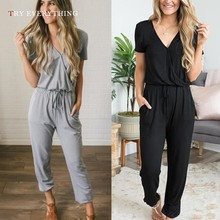 Black Casual Jumpsuit Women Summer 2019 New V Neck Short Sleeve Trousers Female Tunic Loose Romper For