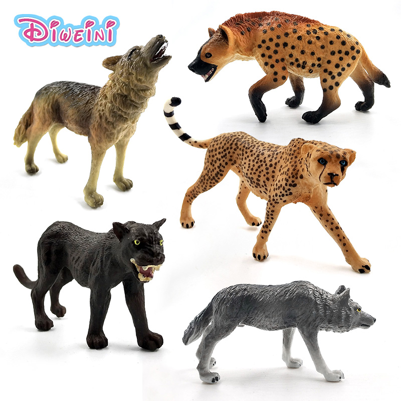 Artificial Leopard Wolf Hyena Panther Simulation Animal Model Figure Plastic Decoration Educational Toy Figurine Gift For Kids