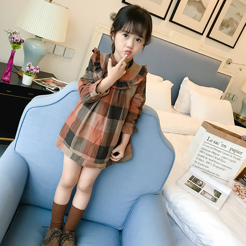 Cute Toddler Kids Girls Dress 2017 Spring Autumn Winter Long Sleeve Warm Velvet Plaid Children Dresses Casual Cotton Dress warm thicken baby rompers long sleeve organic cotton autumn