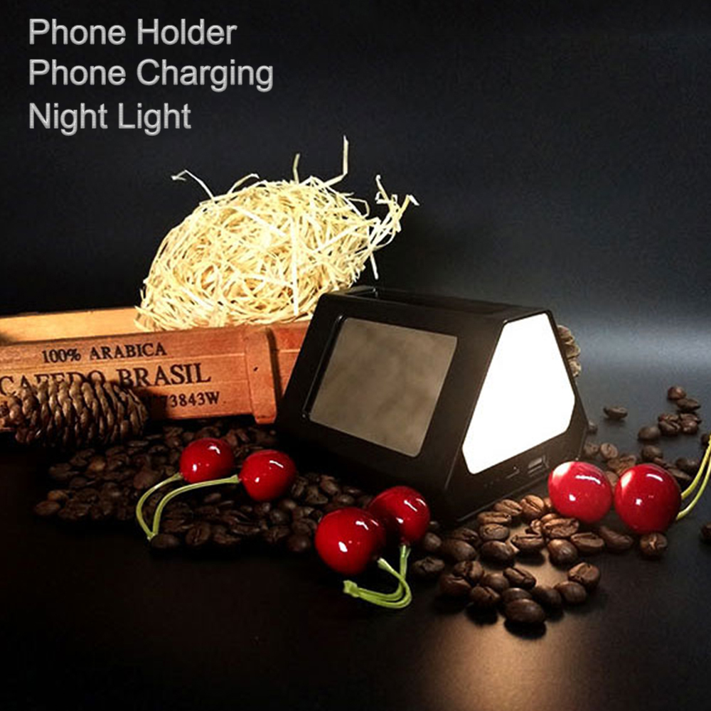 LED Night Light Multifunction Desk Table Night Light Lamps with USB Charger Phone Holder Stand for iphone samsung Xiaomi Ipad wrumava 2 in 1 led ring selfie light with lazy phone holder 3 brightness holder bracket desk lamp for iphone android phone