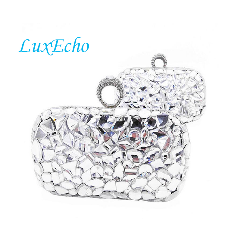 Luxury Rhinestone Handmade Handbags Women shoulder bags Fashion Day Clutches Golden and silver color Finger Ring