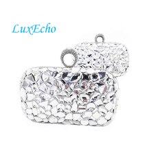 Luxus Strass Handgefertigte Handtaschen Frauen umhängetaschen Mode Tageskupplungen Goldene und silberne farbe Finger Ring abendtaschen