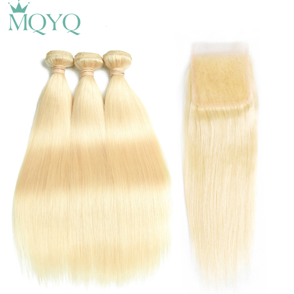 MQYQ Russian Straight Hair 2 3 Bundles With Closure 613 Blonde Human Hair Weave With 4x4