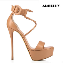 Aimirlly Women Shoes Open Toe High Heels Platform Sandals Cross Strap Cover Heel Ladies Party Clubwear Sexy Summer
