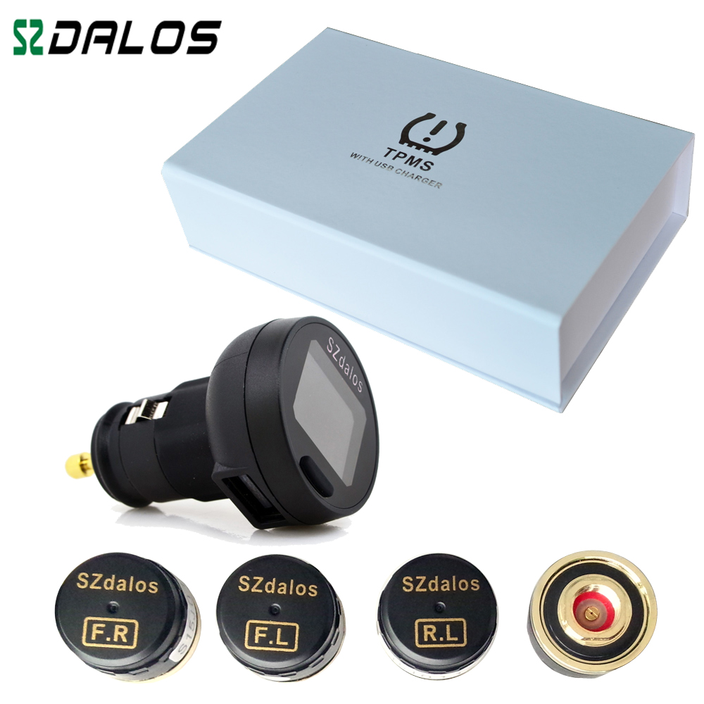 SZdalos newest  TPMS Car diagnostic-tool Wireless Tire Pressure Monitor System  with cigarette charger External Sensor special tpms newest technology car tire diagnostic tool with mini external sensor auto wireless universal tpms