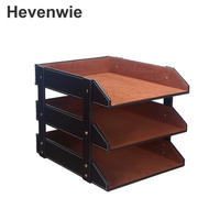 3 Layers PU Leather Desk A4 Document File Tray Rack File Shelf Frame Paper Organizer For Office Supplies