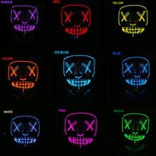 Светодиодный маска для Хэллоуина, маски для чистки, тушь для ресниц, костюм, DJ, вечерние светильник, светящиеся в темноте,, косплей из фильма, маска Payday