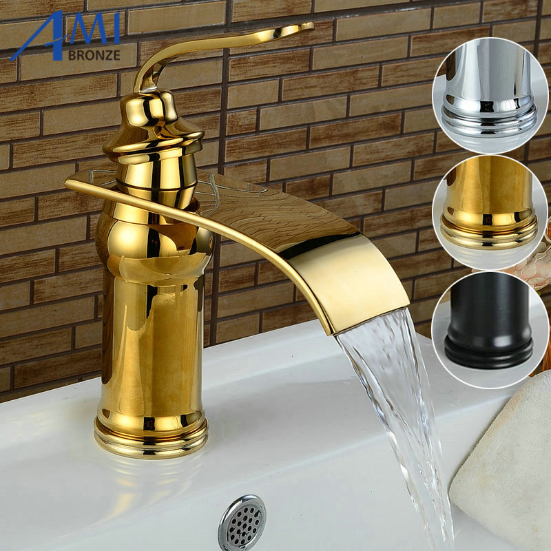 Newly Basin Faucets Bathroom Basin Sink Brass Mixer Tap Hot Cold Golden Polished Faucet Waterfall Mixer Bathroom Faucet