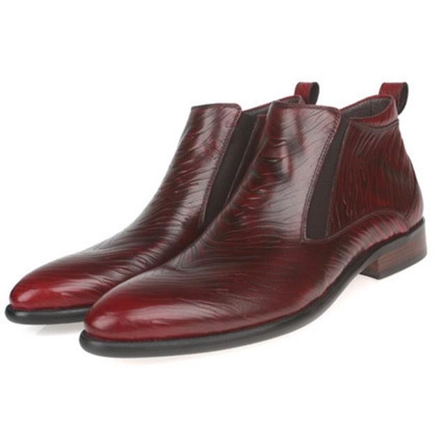 Outono Nova Chegada 2017 Tendência de Couro Genuíno Botas dos homens Apontou Toe sapatos de Casamento Escritório Ankle Boots Lace-Up Masculino Botas calçado