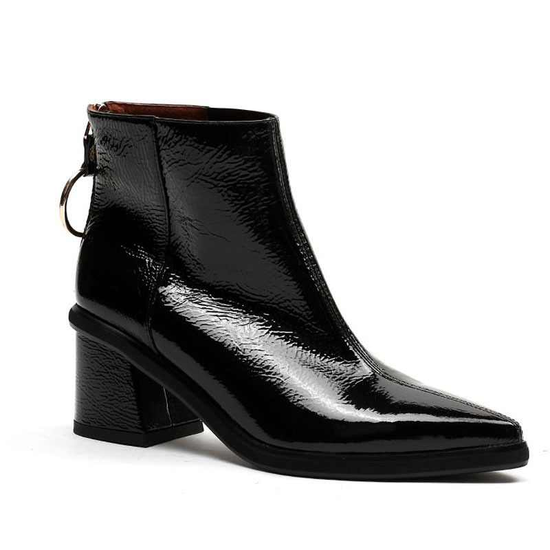 38ccc23ae34b2 ISNOM Patent Leather Women Boots Winter Pointed Toe Footwear Zip Female Ankle  Boot High Heels Platform