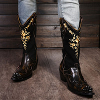 Choudory Men's Autumn Winter Martin Boots Plus Fur Genuine Leather Cotton Padded Shoes Man Cow Leather Tooling Boots