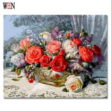 Unique Gift Coloring By Numbers Flower Oil Painting On Canvas Wall DIY Digital Decorative Pictures