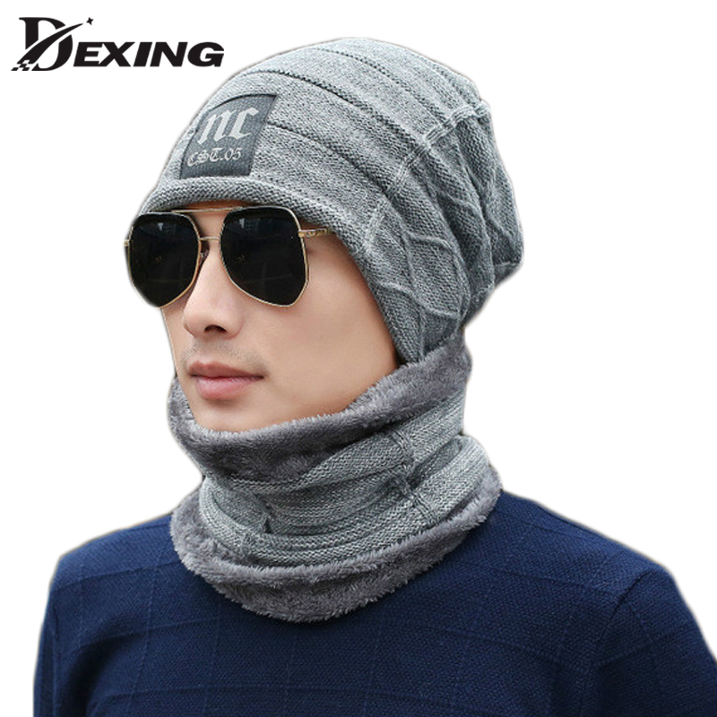 Neck Warmer Hat Scarf Set Mask Knitted   Skullies     Beanies   Wool ha't Knit   Beanies   Winter Hat for Men Boy Balaclava