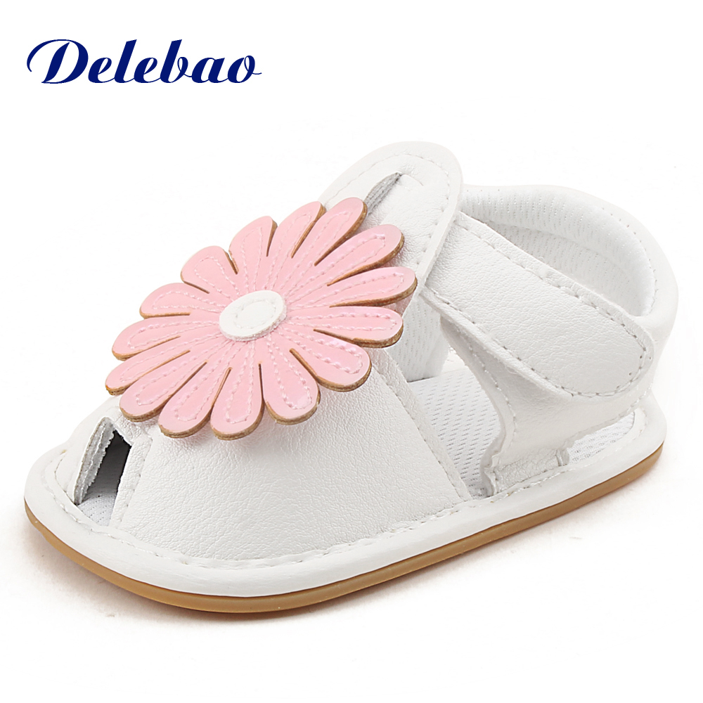 New Design Style Baby Girl Leather Rubber Flat Shoes With Big Flowers Baby Shoes For 0-18 Months