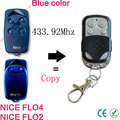 2pcs copy NICE FLO 1 FLO 2 FLO 3 FLO 4 (blue button) 433.92mhz remote control for garage door with battery
