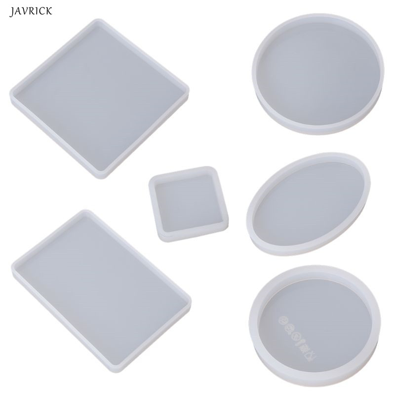 6 Pcs Resin Mold Square Round Silicone Jewelry Casting Mold Coaster Mould For Pressure Board Epoxy DIY Crafts(China)