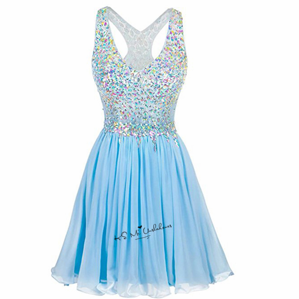 Blue Crystals Party Cocktail Dresses 2018 Sexy Backless Lace Prom Dress Above Knee Short Homecoming Gowns Lace Vestido de Coctel