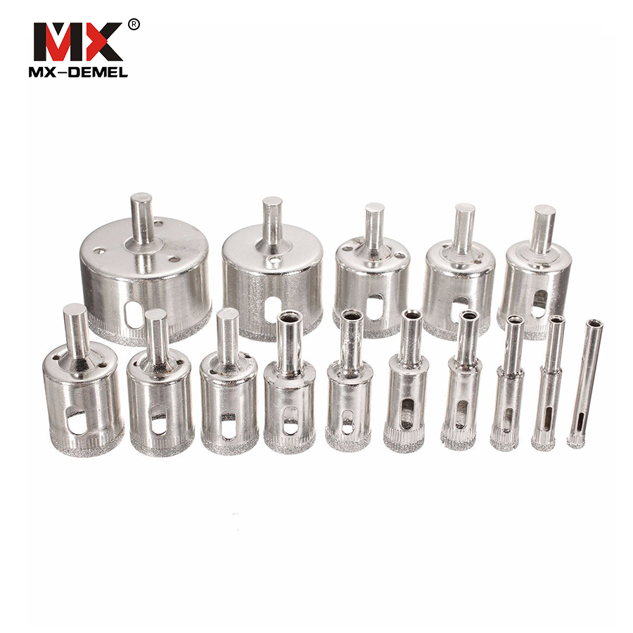 MX-DEMEL 15pcs Diamond Coated Drill Bit Set Tile Marble Glass Ceramic Hole Saw Drilling Bits For Power Tools 6mm-50mm 10pcs set 3 18mm diamond coated drill glass ceramic hole saw set tile marble glass core hole saw drill bit tools cutter set