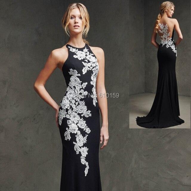 64a140faf6a 2015 летний новый красивая вечерние платья аппликации кружева черный джерси  вечернее платье для foraml ну вечеринку