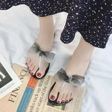 цена на RWHK 2019 new women's slippers summer bow toe flip-flops rubber bottom wear flat non-slip slippers B053