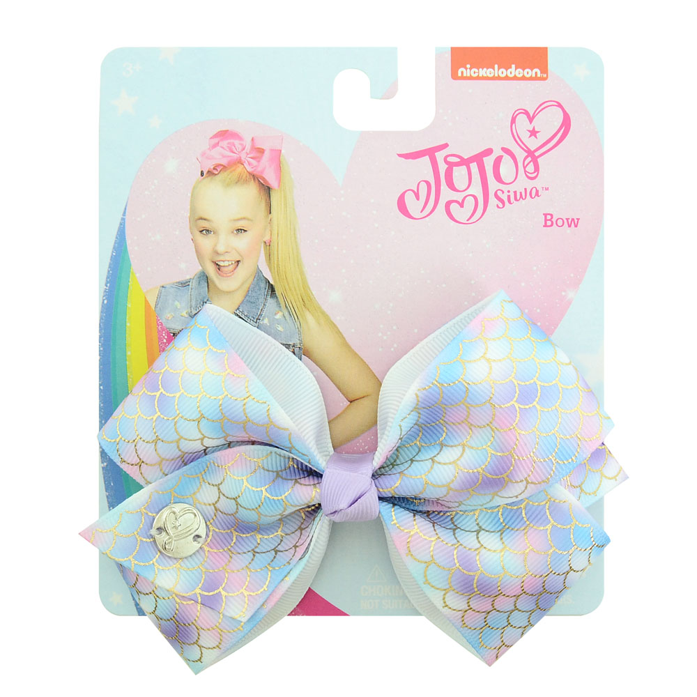 "1 Pcs 5""jojo Clip Multicolor Mermaid Unicorn Rainbow Plaid Print Ribbon Bow Flower Bow With Hair Clip Girls Present  892-J(China)"