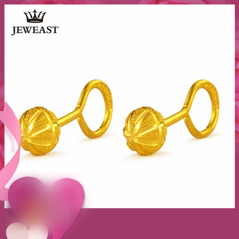 24K Pure Gold Earring Real AU 999 Solid Gold Earrings Trendy Frosted Sphere Upscale Classic Party Fine Jewelry Hot Sell New 2018 24k gold ring pure real pattern exquisite fine jewelry mini resizable design fashion female new hot sale 999 trendy party women